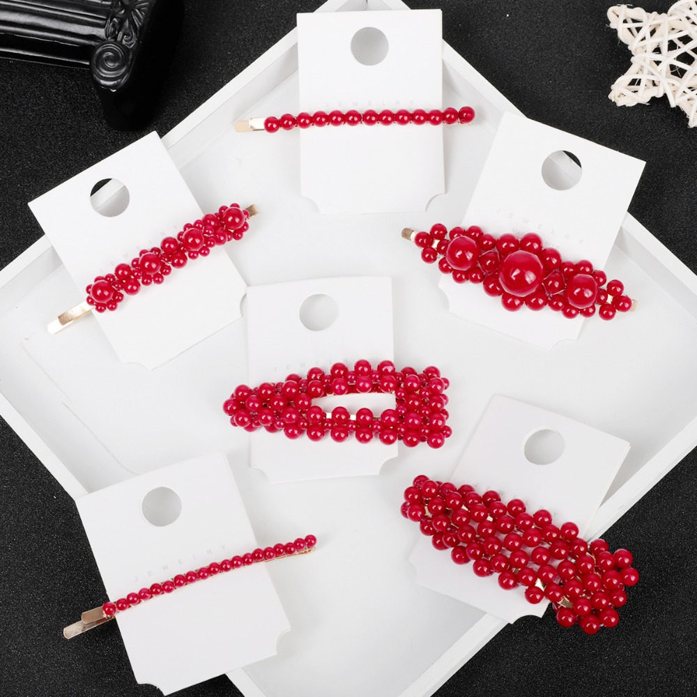 New Red Fashion Metal Hair Accessories Geometric Gold Color Hair Clip For Women Imitation Red Pearl Hairpin Barrettes Hairgrip