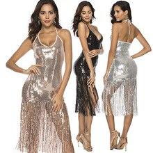 European and American Womens Tassel Sequined Hip Dress