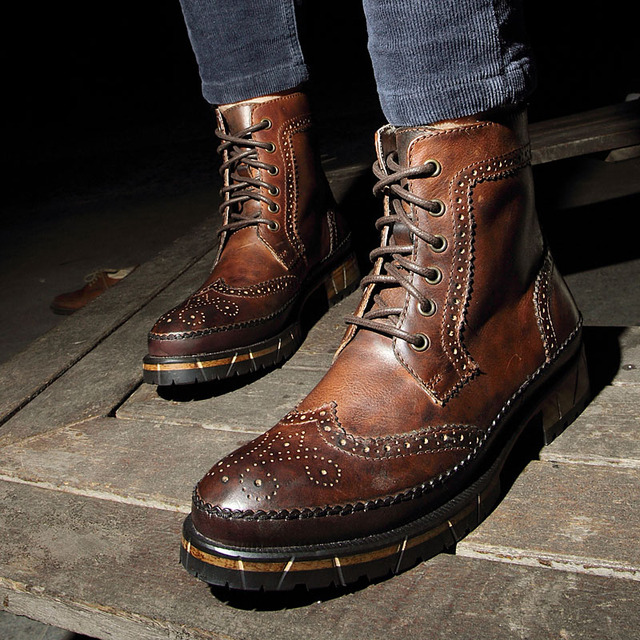 British Retro Brown Cowhide Genuine Leather Martin Ankle Boots