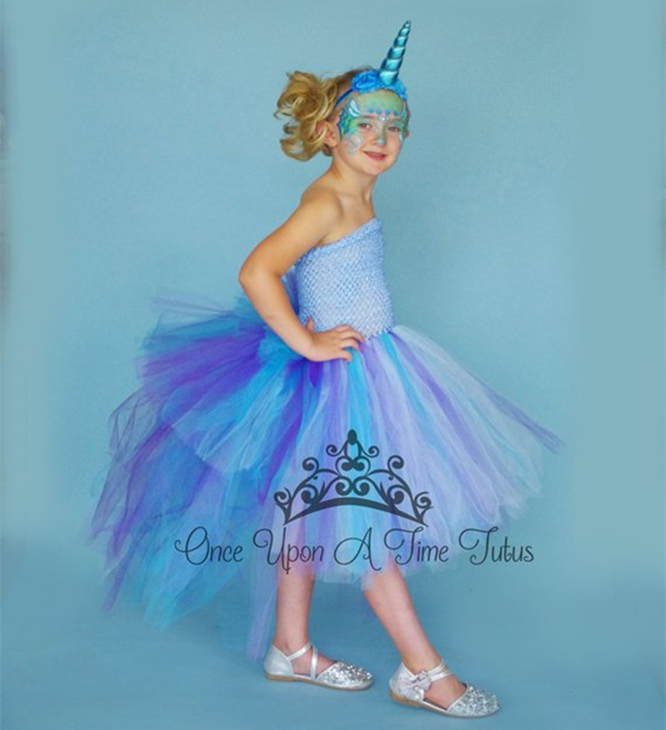 47869a370be7 Unicorn Bustle Christmas Tutu Dress Girls Birthday Party Dress Up Costume  Colorful Girl Dress With Long Tail Little Horse Dress