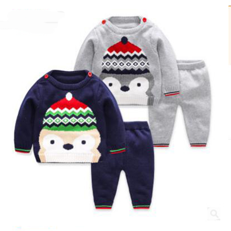 Kids Clothing Set Cartoon knitted sweater sets Knitting sweater + pants 2PCS sport suit for newborn baby clothes Autumn Winter cartoon black kids clothes boys clothes sets for autumn baby girls clothing set sweater and pants children s sport suits retail