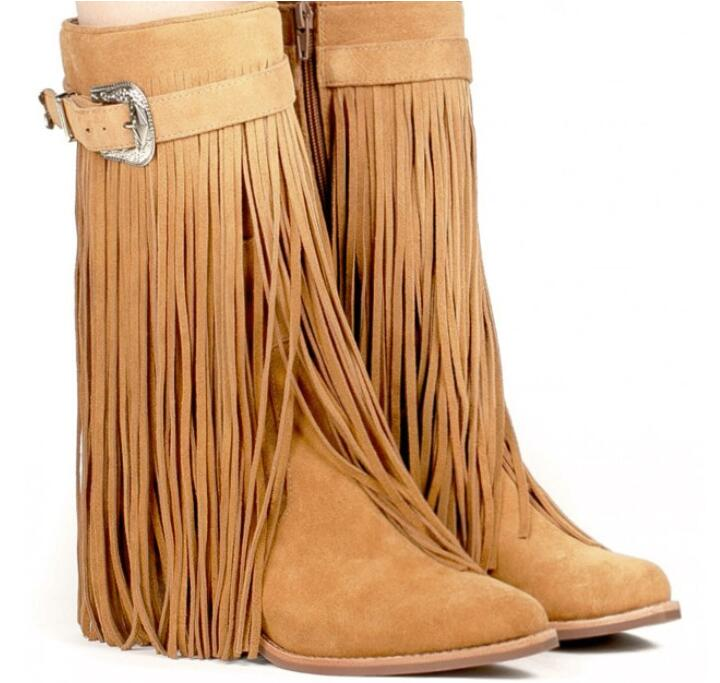Fashion Brown Suede Leather Women Mid-Calf Boots Pointed Toe Long Fringe Ladies West Style Boots Low Square Heel Knight Boots ethnic style fringe and criss cross design mid calf boots for women