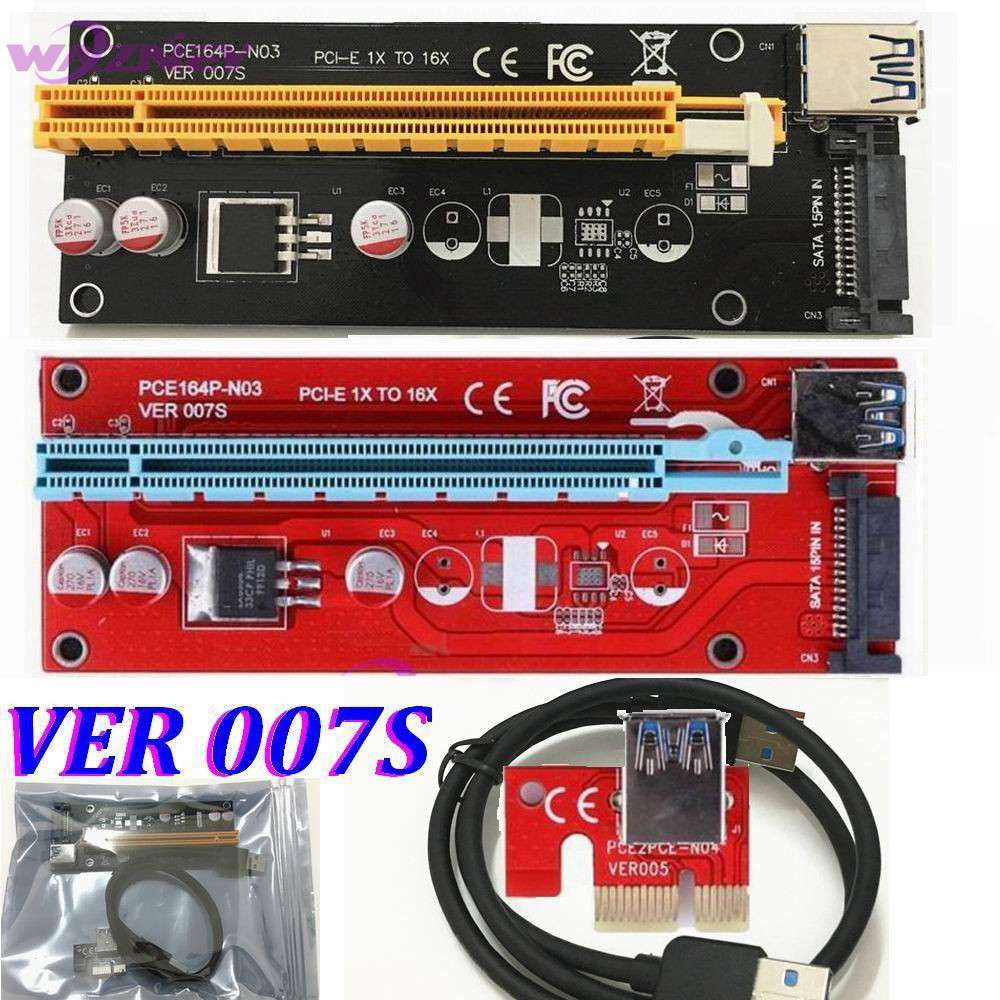 Prix pour Professionnel VER 007 S Rouge PCI-E 1X à 16X Riser Card Extender PCI Express Adaptateur USB 3.0 Câble/15Pin SATA Alimentation 30 Set