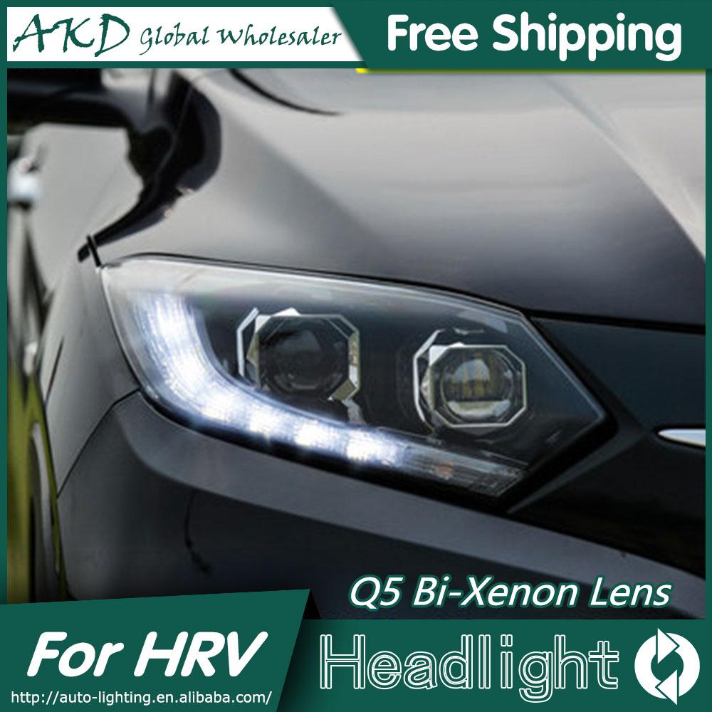 AKD style de voiture pour Honda HRV phares 2014-2016 Vezel phare LED DRL Bi xénon lentille feux de croisement feux de brouillard