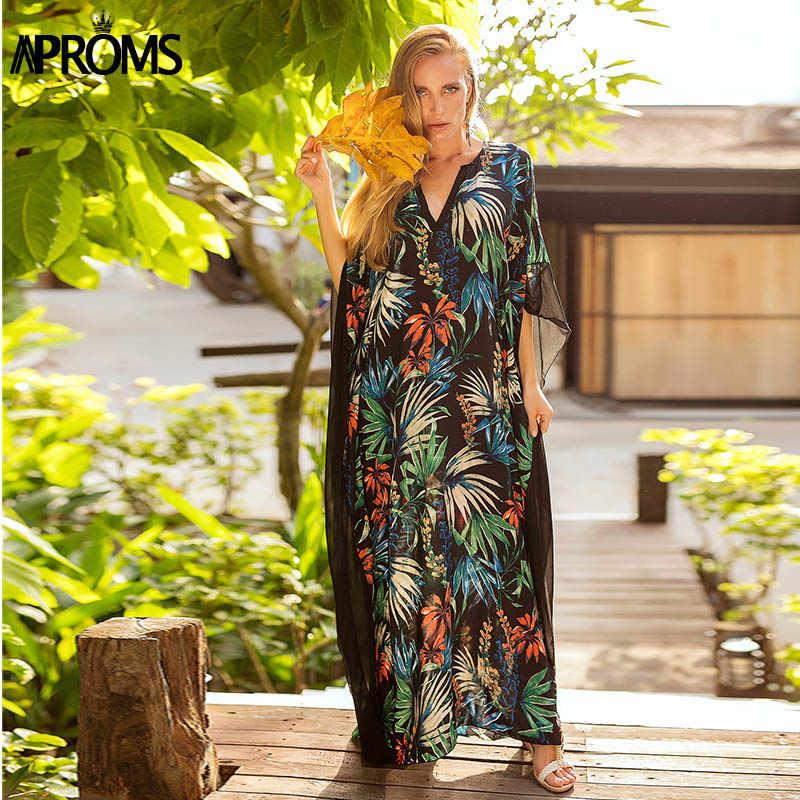 Aproms в стиле бохо тюли летнее, длинное, макси платье для женщин с рукавом «летучая мышь» V образным вырезом свободное пляжное платье-туника Vestidos