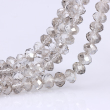 OlingArt 3/4/6/8/10mm Round Glass Beads Rondelle Austria faceted crystal Symphony Champagne  color Loose bead DIY Jewelry Making