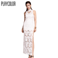 PLAYCOLOR White Lace Sexy Party Dress Sleeveless Prom Dress Side Open Design Evening Gowns Custom Made