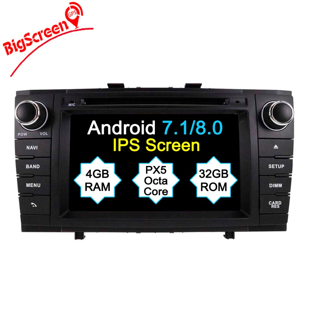 Android 8.0 7.1 Octa 8 Core Car DVD Player GPS Navigation For Toyota Avensis T27 2009 2015 Record Headunit Multimedia Stereo