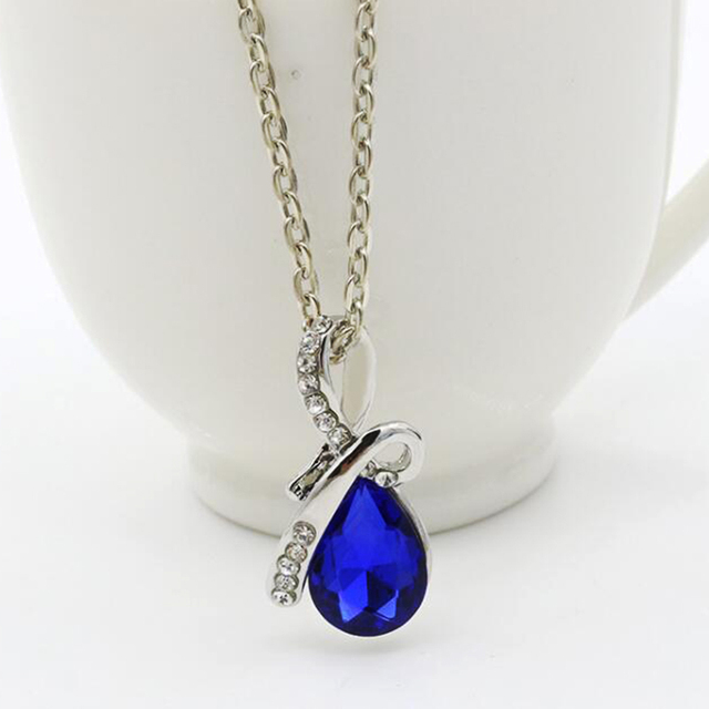 f67293a263783 US $1.0 |Charm silver plated necklaces drop water blue crystal pendant  necklace women maxi necklace collier 4 colors for choose-in Pendant  Necklaces ...