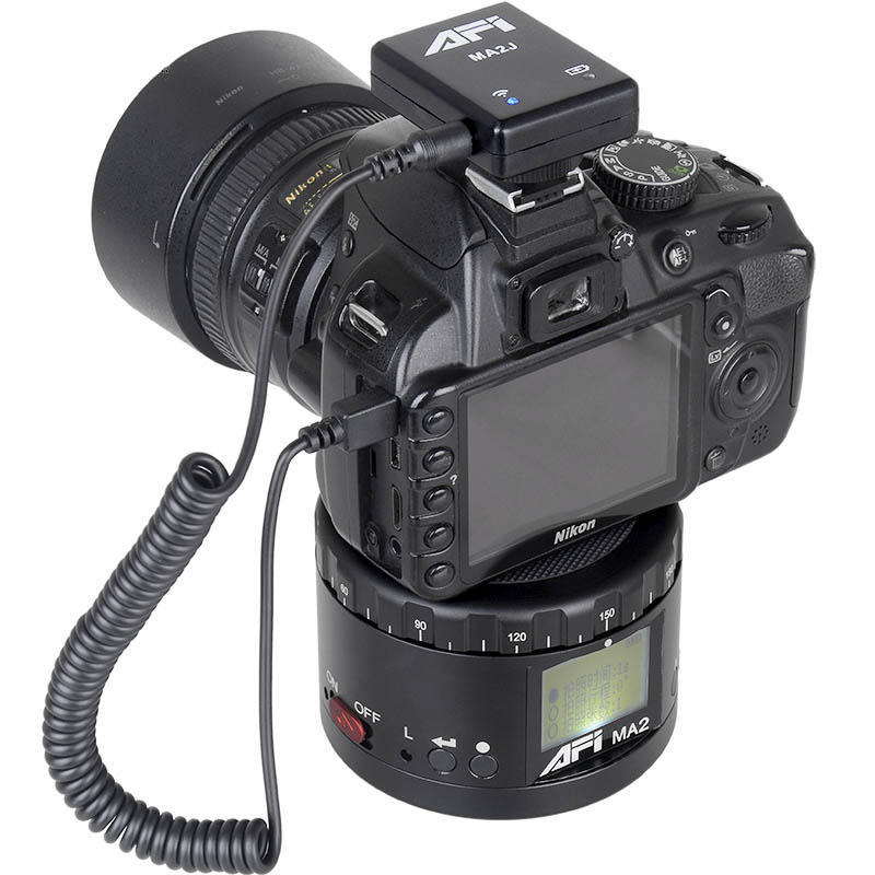 AFI Ma2 Aluminum LED Electronic Panorama Head Time Lapse Panoramic Tripod For Camera Phone Stabilizer Rotation