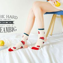 Korean Style Strawberry Orange Bubble Fruit Candy Socks for Female Fashion Popular Casual Women Calcetines Mujer