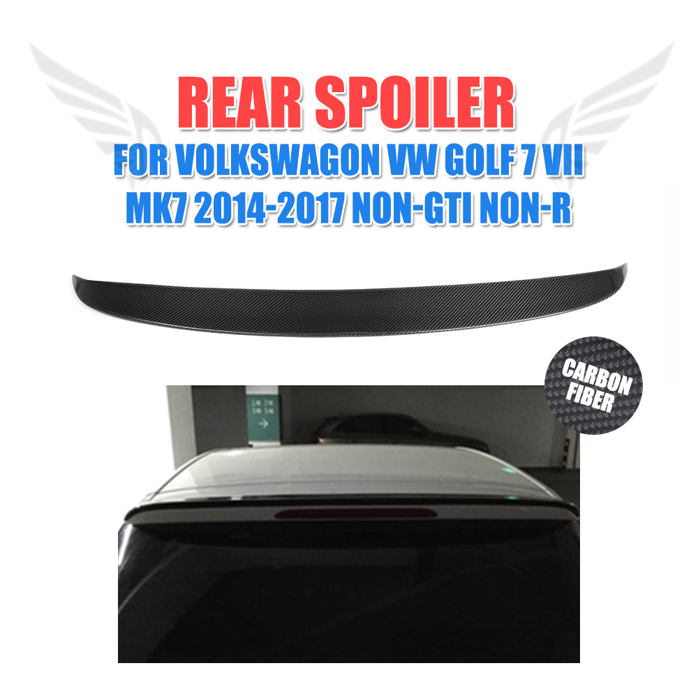 Carbon Fiber O Style Rear Roof Lip Spoiler Wing Fit For VW Golf VII 7 MK7 Standard Non-R Non-GTI Rear Window Spoiler 2014-2017 carbon fiber nism style hood lip bonnet lip attachement valance accessories parts for nissan skyline r32 gtr gts