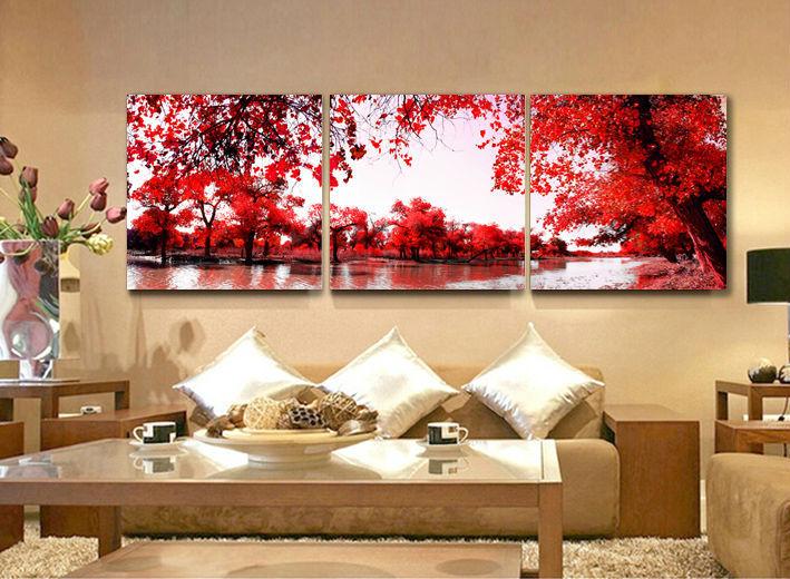ჱCalidad 3 panel rojo hojas otoñales casa decoración lienzo pintura ...