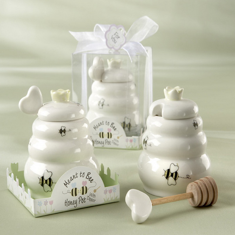 50PCS Meant to Bee Ceramic Honey Pot with Wooden Dipper Good For Wedding Bridal Shower Favors