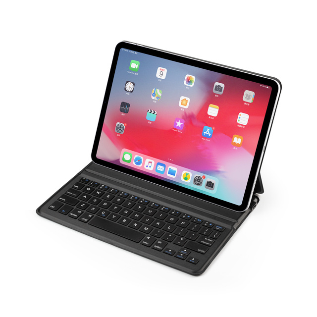 حافظة جلدية لاسلكية للوحة المفاتيح مزودة بتقنية البلوتوث لهاتف iPad Pro مقاس 11 بوصة 2018 أغطية للوحة مفاتيح الكمبيوتر اللوحي ملصق مجاني للغة