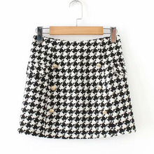 Women's Plus Size Double-Breasted Vintage Mini Skirt