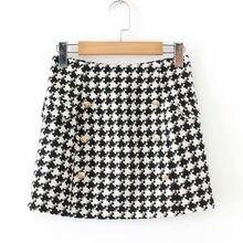77999b22a8daa2 Hahnentritt Frauen Röcke Plus Größe Weibliche Zweireiher Vintage Mini Rock  Hohe Taille Jupe Femme Faldas Mujer