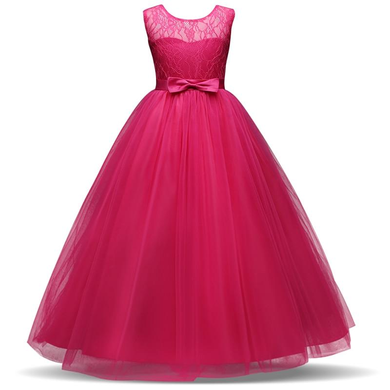 Kids Flower Girl Wedding Bridal Dress For Christmas Party Kids Girl Eleganckie Imprezy Suknia Tutu Party Bow Dress 8 10 12 14T