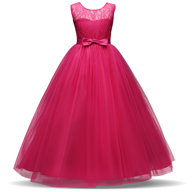 Kids Flower Girl Wedding Bridal Dress For Christmas Party Kids Girl Elegant Events Prom Dress Tutu Party Bow Dress 8 10 12 14T