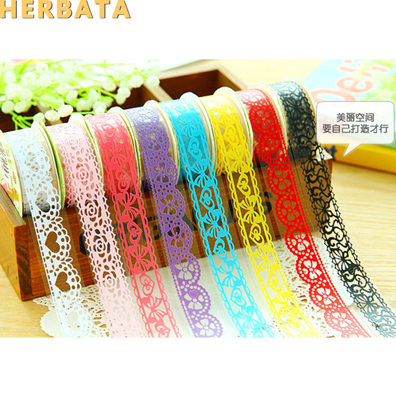 1pc/lot DIY Lace Decorative Tape Plastic Sweet Washi Tape For Photo Album Scrapbooking Masking Tape Free Shipping CL-2301