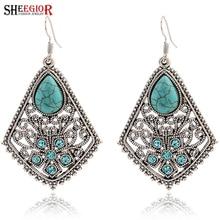986c0dddf295 SHEEGIOR Vintage plata gota de agua pendientes para las mujeres moda joyas  turquesas colgantes Long pendiente Bijoux Femme regal.