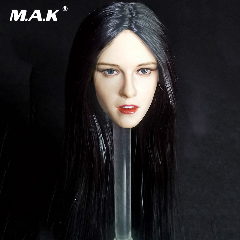 1/6 Scale Woman Head Sculpt Kristen Stewart Head Carving with Black Long Hair Model Toys for 12'' PH Female Figure Body 1 6 scale asian female head sculpt with black long hair models toys for 12 female action figure