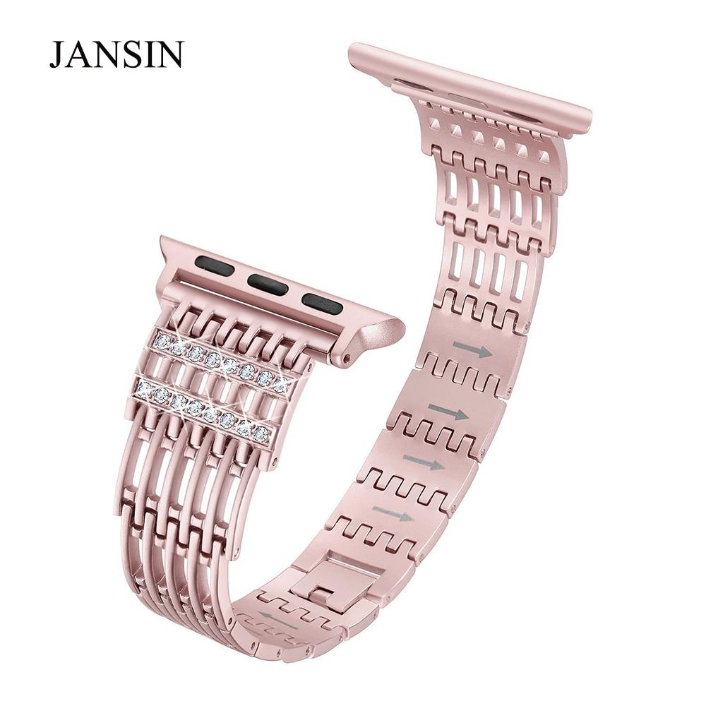 JANSIN Bling del Metallo Dell'acciaio inossidabile della vigilanza della fascia per Apple Watch band 38mm 42mm 40mm 44mm di Serie 4 3 2 1 sport Cinghia del braccialetto delle donne