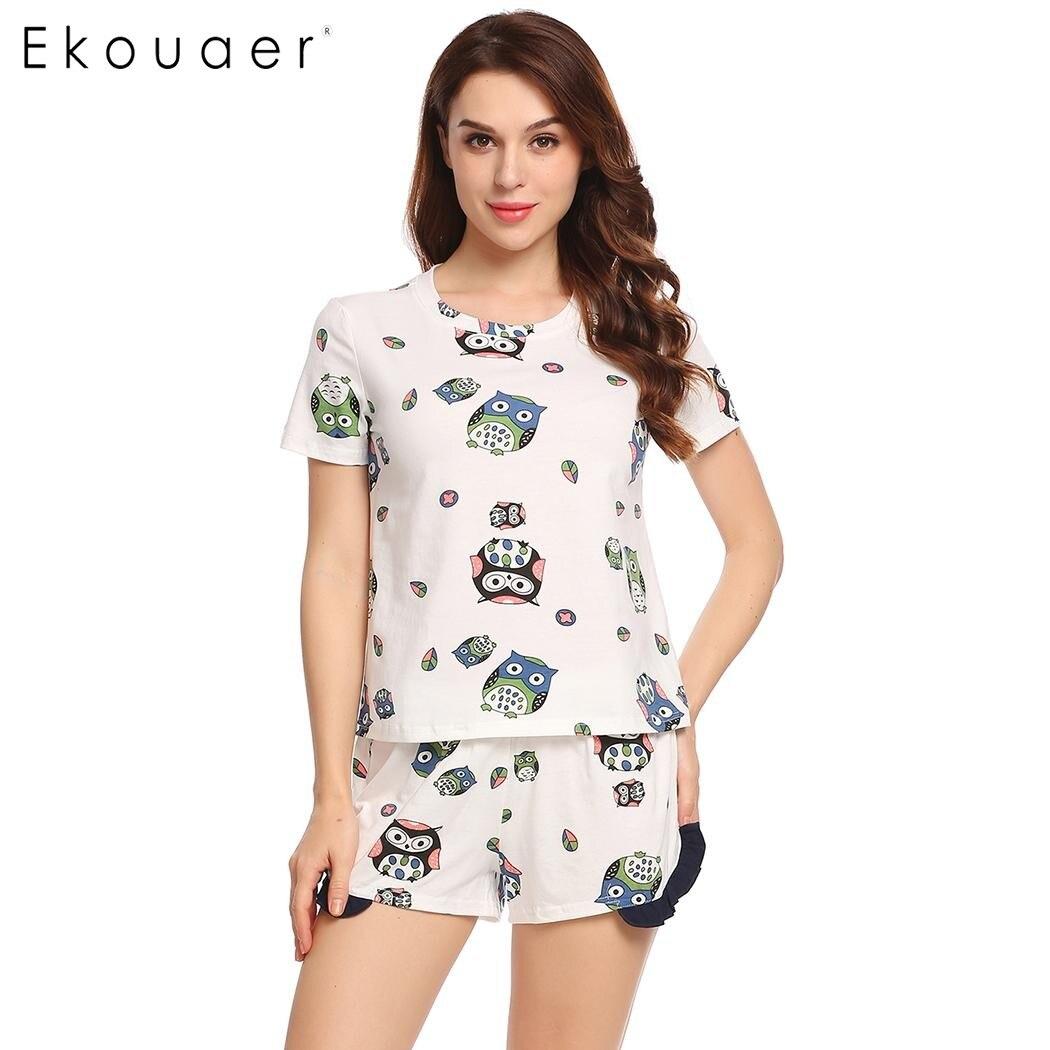 Ekouaer Sleepwear 2018 Women O-Neck Short Sleeve Print Owl Nightshirt Summer Casual Ruffles Pj Short   Pajamas     Set   Hot Sale