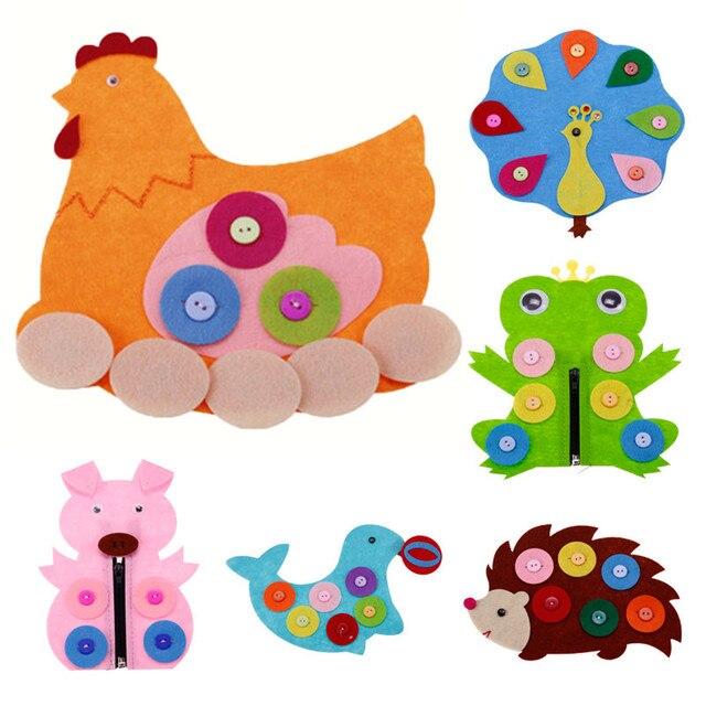 3 Pcs Set DIY Cartoon Handmade Non Woven Fabric Material Button Preschool Toy Funny