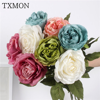 Silk Rose Flowers For Home Decoration Long Branc European Roses Fake Flower Party Hotel Decor 80cm fake rose flowers