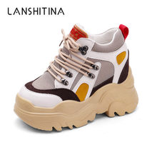2018 Fashion Women Platform Casual Shoes Mesh Breathable Wedge Heels Shoes 10 CM Autumn Thick Sole Height Increasing Sneakers(China)