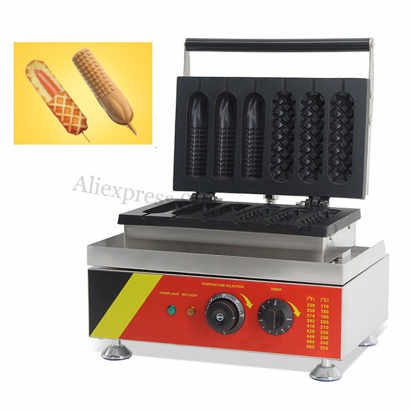Nonstick Lolly Waffle Baker Maker 3 Hotdog Waffle + 3 Corn Hot Dog Waffle Machine Breakfast Snack Fast Food Device 220V 110V stainless steel waffle hot dog machine corn waffle baker