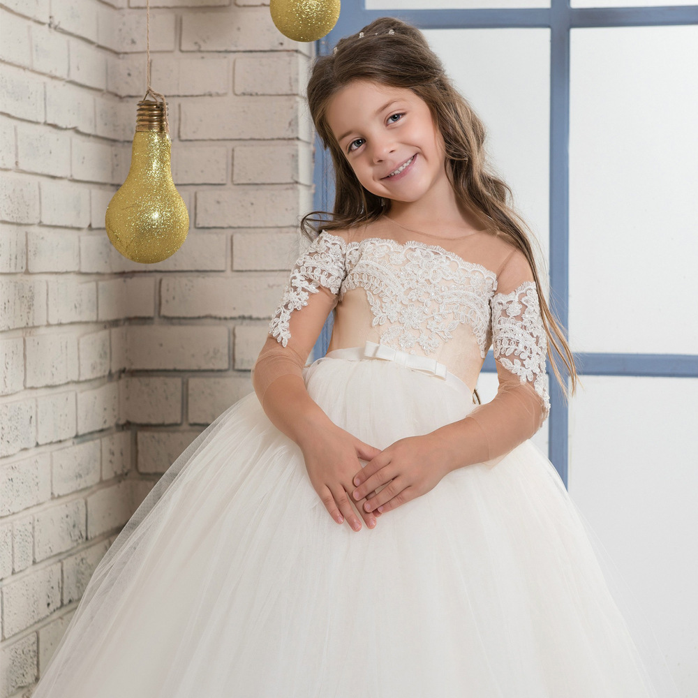 Sheer Neck Sequin Lace Ball Gown   Flower     Girl     Dresses   For Wedding Three Quarter   Girl   First Communion Gowns Special Occasion   Dress