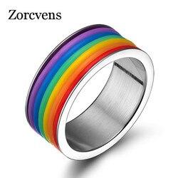 ZORCVENS-bague arc-en-ciel pour hommes et femmes, en acier inoxydable, vente, bijoux en titane