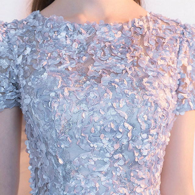 LAMYA Candy Color Appliques Prom Dresses Short Sleeve Evening Party Dress Knee Length A Line Formal Gown Zipper Robe De Soiree 4