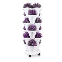 T4U стекируемые Вертикальная сеялка сад горшок с Caddy-6 уровня комплект для выращивания клубника трав овощей цветочных растений