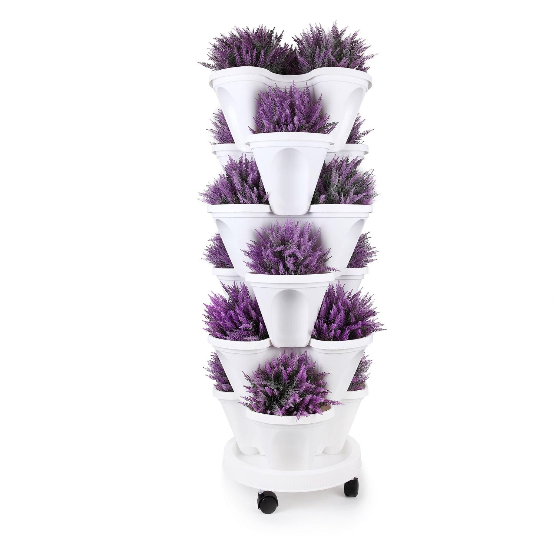 T4U Tier Impilabile Verticale Fioriera Vaso Da Giardino con Caddy-6 Set, per la Coltivazione di Erbe Fragole Verdura Pianta Del Fiore