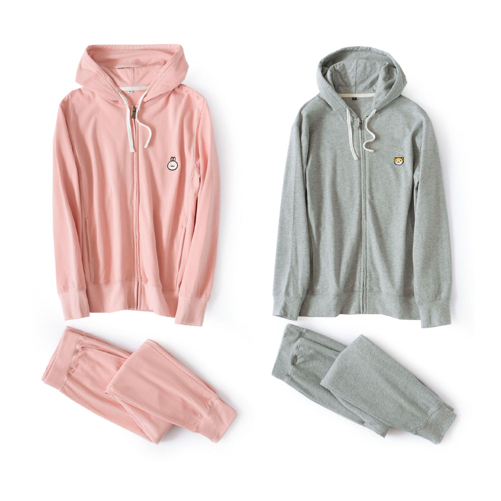 Couples Cotton Pajamas Sets Women & Men Winter Home Suit Sleepwear Cute Pink Hooded Zip Pyjama Femme Pijama Homewear