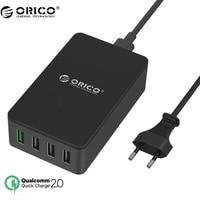 ORICO QSE-4U QC2.0 4 Port Desktop USB Charger for Smartphones and Tablets with EU Plug-Black