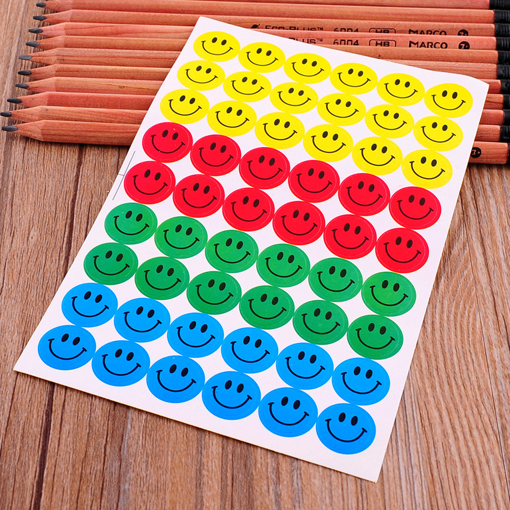 (1 Pack = 10 Sheets = 540pcs) Classic Toys Smile Sticker Smiley Face Self-Adhesive Paper Label For School Teacher Rewards Kids