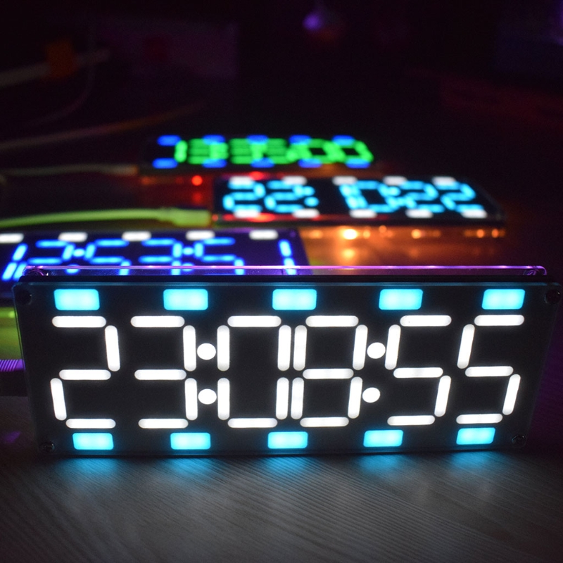 DIY Large Screen 6 Digit Two-Color LED Clock Kit Touch Control w Temp/Date/Week 1