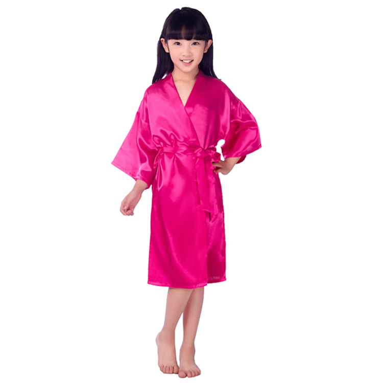 Baby Girl Silk Satin Robe Solid Night Robe Fashion Bathrobe Children Bridesmaid Robe.