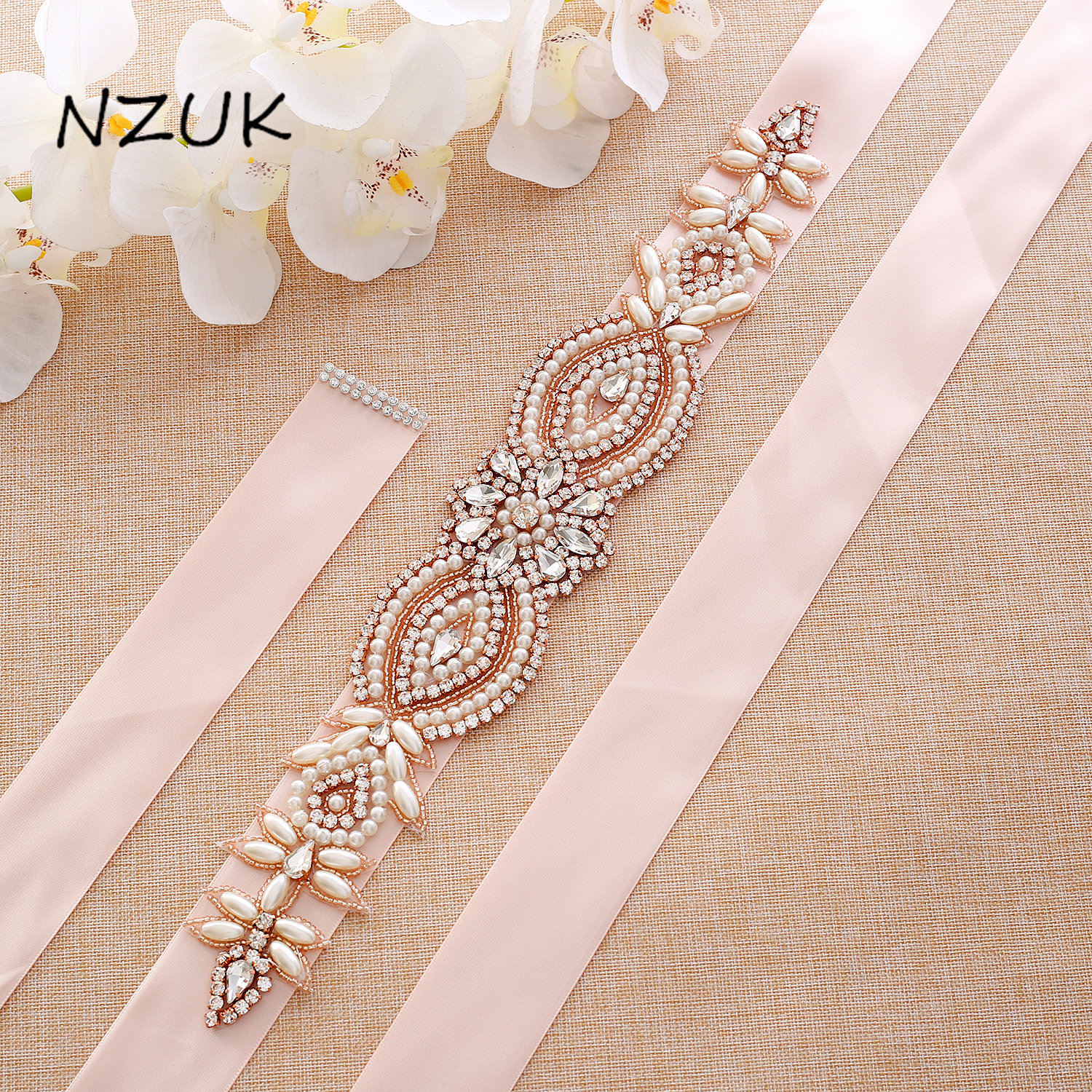 Crystal Bridal Belt Rose Gold Diamond Belt Handmade Rhinestones Wedding Dress Belt For Wedding Prom Gown ZZY114RG