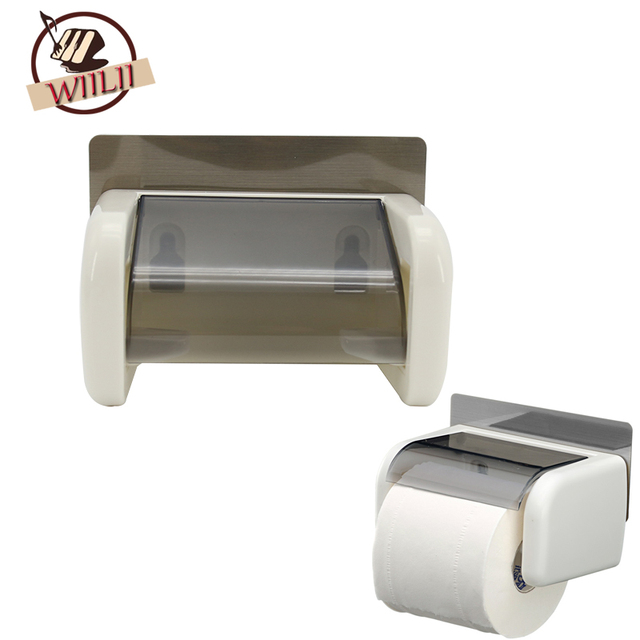 Plastic Suction Cup Toilet Roll Paper Holder Storage Box Hanging Organizer Bathroom Tool