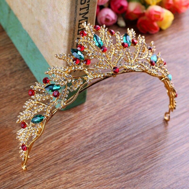 Baroque Vintage Royal Gold Color Rhinestone Bridal Tiara Crown Hair Ornaments Headdress Luxury Crystal Leaves Pageant Prom Crown