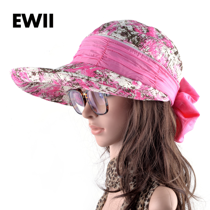 Girls summer sun hats for women folding wide brim visor cap ladies beach anti-uv caps women floppy bucket hat chapeu bone