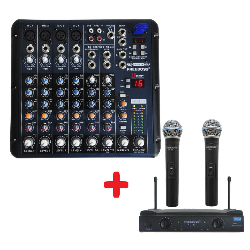 FREEBOSS KU-22 UHF Handheld Wireless microphone + SMR8 Audio Mixer