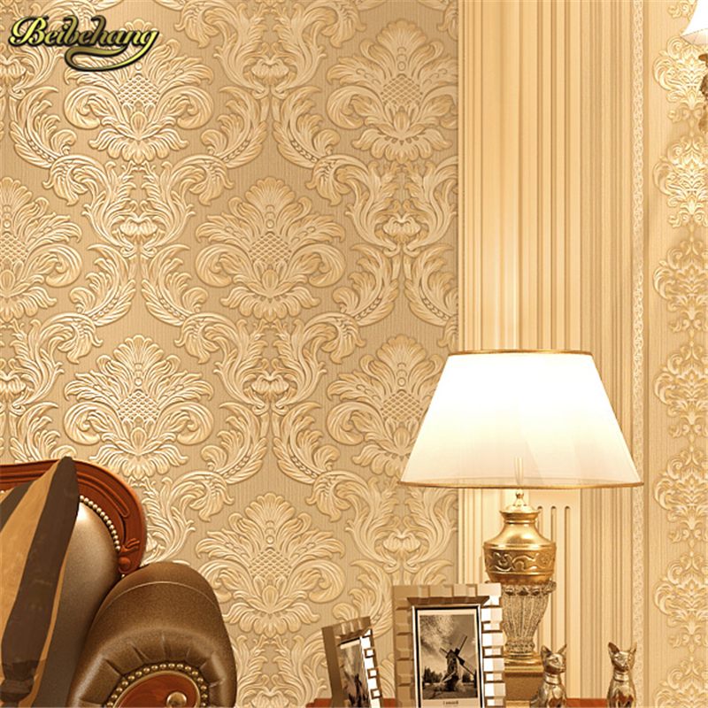 beibehang European Damascus embossed wallpaper for walls 3 d papel de parede 3d non woven wall paper painting Home Decoration