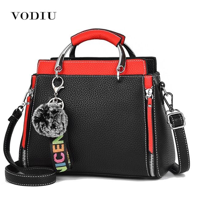 cd9972e37852 Women Bags Women Leather Handbag Shoulder Bag Crossbody Handbags Zipper  Vintage High Quality Hair Ball Pendant Metal Handle