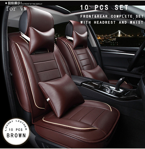 OUZHI for volkswagen vw golf 4 5 passat b5 b6 polo brown brand designer luxury pu leather front&rear full car seat covers car rear trunk security shield cargo cover for volkswagen vw tiguan 2016 2017 2018 high qualit black beige auto accessories